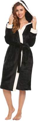 Ekouaer Womens Flannel Floral Print Kimono Robe 2 Pockets Long Sleeve Warm Bathrobe