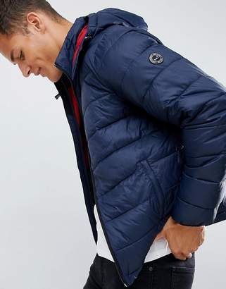 Abercrombie & Fitch lightweight packable down puffer with hood in navy