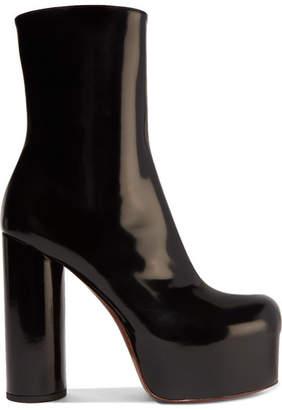 Vetements Patent-leather Platform Ankle Boots - Black