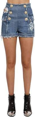 Balmain Destroyed Cotton Denim Shorts