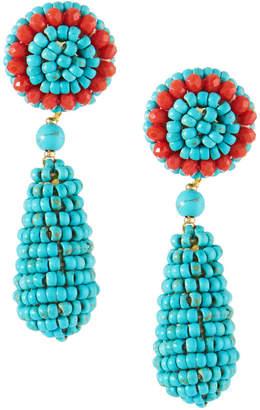 Nakamol Turquoise Beaded Circle & Teardrop Earrings