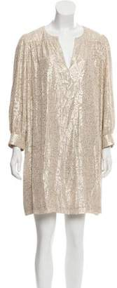 Elizabeth and James Metallic Patterned Mini Dress gold Metallic Patterned Mini Dress