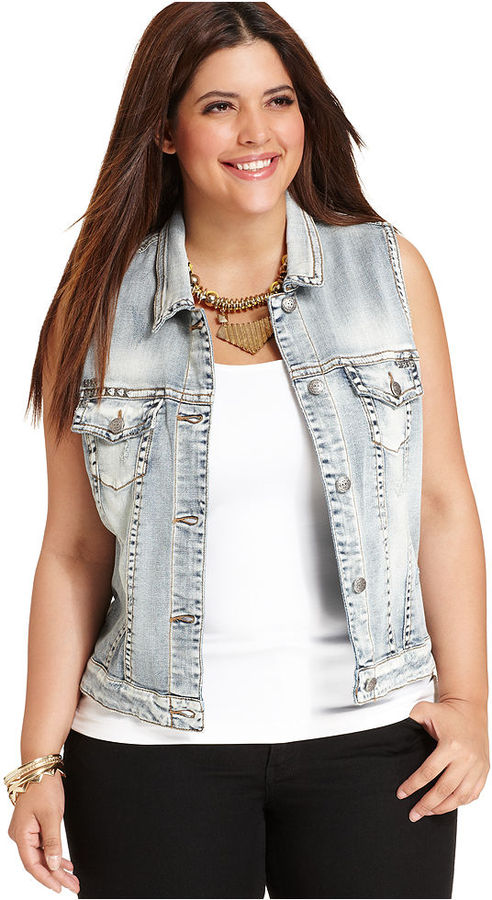 Silver Jeans Plus Size Vest, Sleeveless Studded Denim