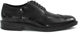Tod's Lace-up In Black Semi-glossy Brushed Leather.
