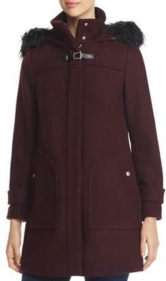 Cole Haan Faux Fur Trim Twill Duffel Coat