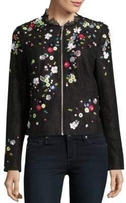Elie Tahari Marta Embellished Bomber Jacket