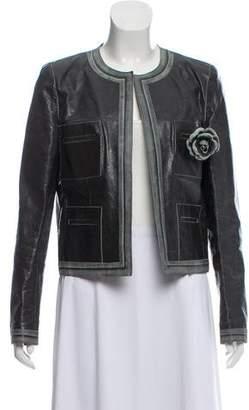 Chanel Leather Camelia Jacket