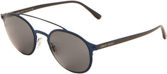 Giorgio Armani AR 6041Blue Double Bar Round Sunglasses