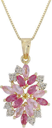 JCPenney FINE JEWELRY 14K Gold over Silver Lab-Created Ruby and Pink & White Lab-Created Sapphire Flower Pendant Necklace