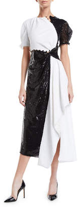 Prabal Gurung Short-Sleeve Colorblocked Sequined Asymmetric Gown
