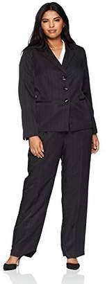 Le Suit Women's Size Plus Tonal Stripe 3 Bttn Notch Lapel Pant