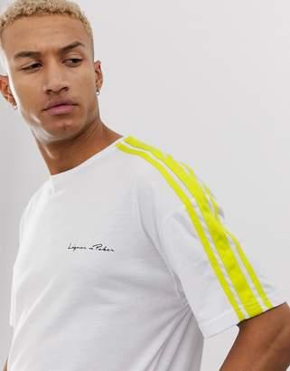 N. Liquor Poker oversized t-shirt in white with neon green stripe