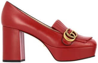Gucci Pumps Gg Marmont Pumps In Genuine Leather With Fringes And Monogram