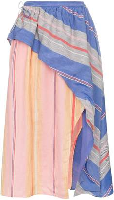 A Peace Treaty Tarouba stripe high waist silk cotton-blend skirt