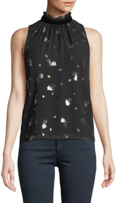 Rebecca Taylor Sleeveless Scattered Tulip High-Neck Top