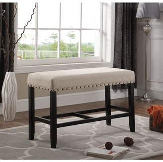 Roundhill Furniture Roundhill Biony Tan Fabric Counter Height Dining Bench with Nailhead Trim