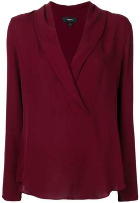 Theory deep V neck blouse