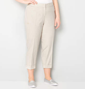 Avenue Stretch Sateen Tan Striped Crop Pant