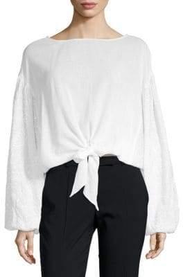 Kas Wendy Tie-Front Puff-Sleeve Top
