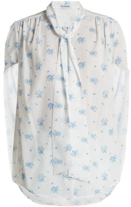 Balenciaga Twisted Sleeve Floral Print Crepe Blouse - Womens - Multi