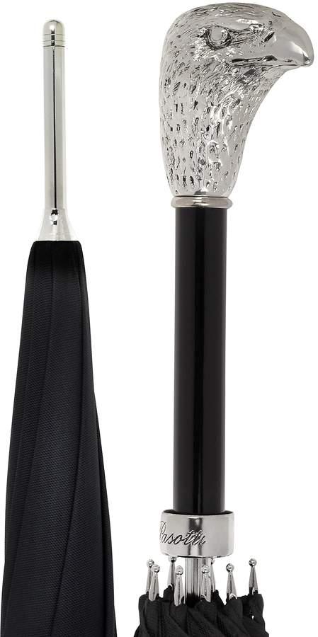 Pasotti Black Unisex Umbrella w/Silvertone Eagle Handle