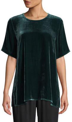 Eileen Fisher Short-Sleeve Velvet Box Top