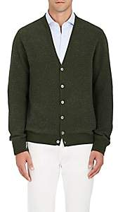 Zanone Men's Polka Dot Wool-Cashmere Cardigan-Green