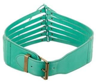 Alaà ̄a Laser-Cut Waist Belt Teal Alaà ̄a Laser-Cut Waist Belt