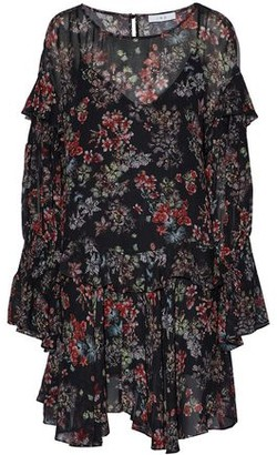 IRO Averen Ruffled Floral-Print Chiffon Mini Dress