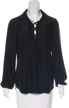 Frame Silk Lace-Up Top