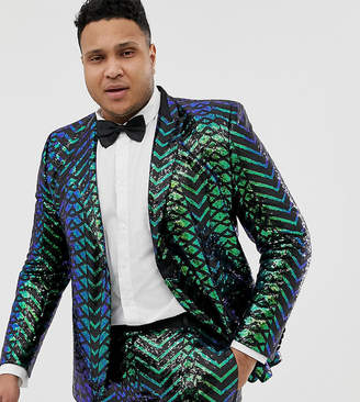 Edition EDITION Plus skinny tuxedo jacket in green geo patterned sequins