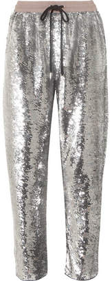Ashish Sequined Cotton Track Pants - Silver