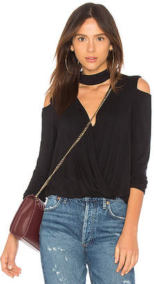 Krisa Cold Shoulder Surplice Top