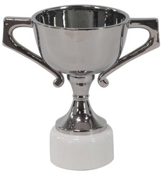 DecMode Decmode 14 X 9 Inch Modern Silver-Finished Ceramic Trophy Urn, Silver