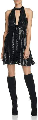 Free People Womens Sequined Velvet Trim Party Dress Pink