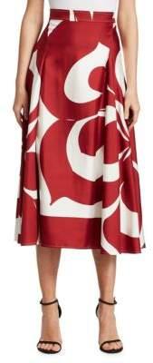 Victoria Beckham Silk Printed Midi Skirt