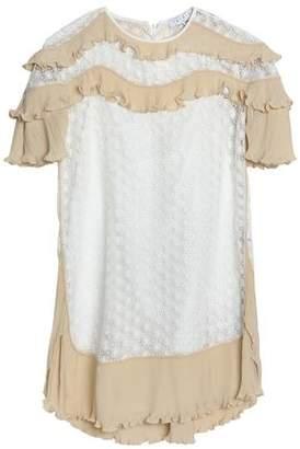 Sandro Bohemian Ruffle-trimmed Plisse-chiffon And Crochet Mini Dress