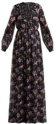 Giambattista Valli Floral Print Silk Georgette Gown - Womens - Black Multi