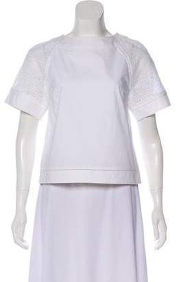 Salvatore Ferragamo Short Sleeve Eyelet Top