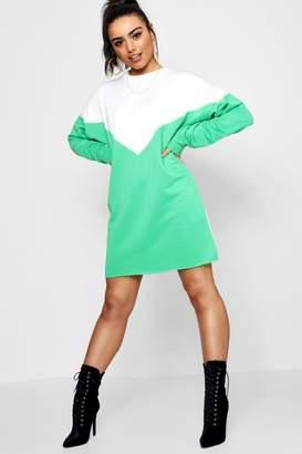 boohoo Nadine Chevron Colour Block Sweat Dress