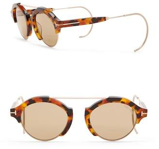 Tom Ford Farrah 49mm Round Browbar Sunglasses