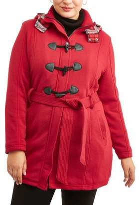 Yoki Women's Plus Size Sherpa Lined Toggle Fleece Jacket With Removeable Plaid Lined Hood