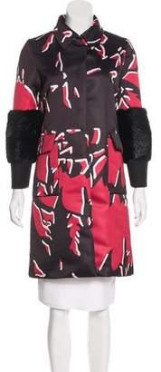 Marni Fur-Trimmed Satin Coat w/ Tags