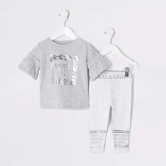 c2ea31f8980654 River Island Mini girls grey zebra print legging outfit