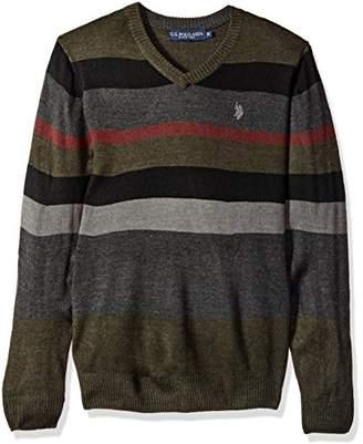 U.S. Polo Assn. Men's Multi Stripe V-Neck Sweater