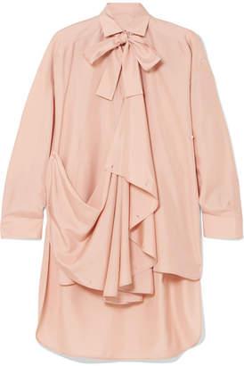 Valentino Pussy-bow Draped Silk Tunic - Peach