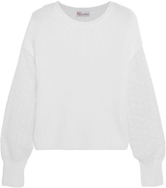 REDValentino - Broderie Anglaise-paneled Ribbed Cotton Sweater - White $550 thestylecure.com