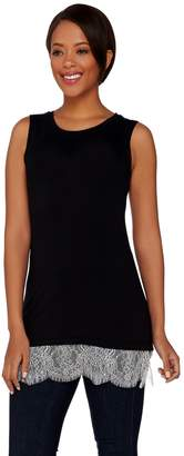 Logo By Lori Goldstein LOGO Layers by Lori Goldstein Knit Tank with Scalloped Lace Trim