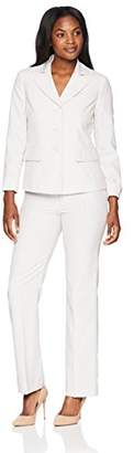 Le Suit Women's Stripe 3 Button Notched Collar Pant