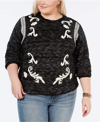 Lucky Brand Plus Size Embroidered Crewneck Sweater
